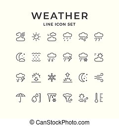 Set line icons of weather isolated on white. Vector ...