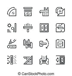 Set line icons of window isolated on white. Vector ...