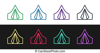 Set line Tourist tent icon isolated on black and white background. Camping symbol. Vector Illustration