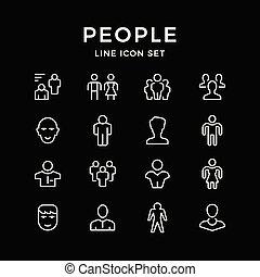 set, linea, icone, di, persone