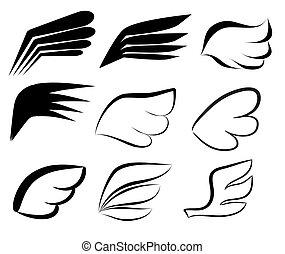 set, lineair, gevleugeld, doodle, set., icons., hand, vector, illustratie, logo, getrokken, vleugels