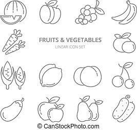 set, lineair, iconen, groentes, vector, vruchten