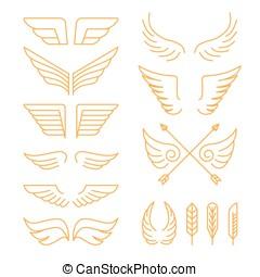 set, lineair, iconen, -, vector, vleugels