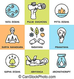 Set linear icons about ayurveda - Set linear icons for...