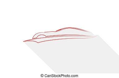 set, lineare, auto, moderno, simbolo, silhouette, vettore, automobile, sport
