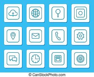 set, lineare, icone, mobile, congegni, minimalistic