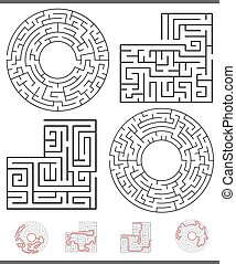 set, linee, ozio, gioco, grafica, labirinto