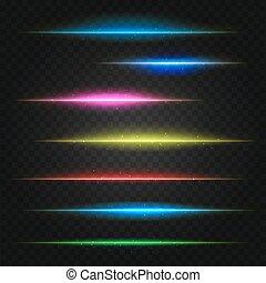 set, lines., illustrazione, chiarori obiettivo, vettore