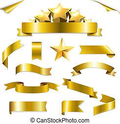 set, linten, goud, sterretjes
