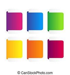 set, linten, kleurrijke, banner.