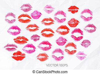 Set lipstick kiss signs prints of pink, red, burgundy...
