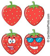 set., litera, zbiór, truskawka, owoc, rysunek, maskotka