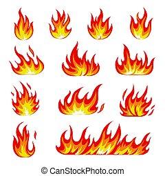 set., llama, symbols., llameante, illustrtion, collection., fuego, imágenes, caricatura, efecto, iconos, vector