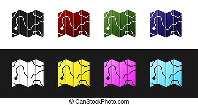 Set Location of the forest on a map icon isolated on black and white background.  Vector Illustration