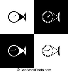 Set Location with clock icon isolated on black and white background. Vector