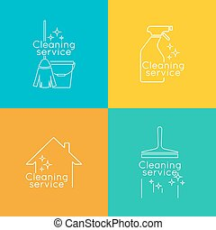 Set Logo cleaning service with broom and bucket plunge,...