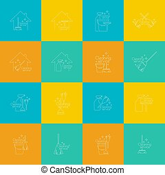 Set Logo cleaning service - Set of vector logo icons clean...