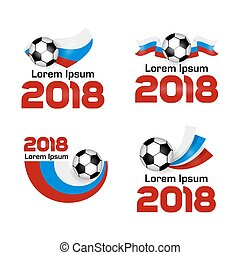 Big set Logo Football Championship 2018 in Russia. Poster with Russian flag. Vector Illustration. Flat colored banner isolated soccer ball concept. World Cup football sport banner, fifa.