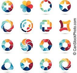 set., logo, symbols., koło, znaki