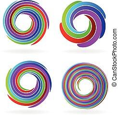 Set logos abstract waves