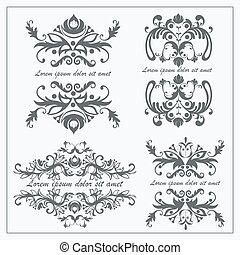Set logos baroque ornament