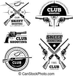 set, logos, club, vendemmia, etichette, fucile, emblemi, vettore