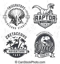 set, logos., giurassico, dino, vendemmia, periodo, illustrazione, t-rex, t-shirt, fondo., birra, concetto, grunge, badge., etichetta, raptor, design.