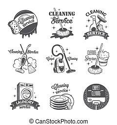set, logos, ouderwetse , etiketten, poetsen, diensten, ...