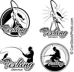 set, logos, ouderwetse , etiketten, vector, visserij, emblems