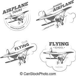 set, logos, vendemmia, etichette, aereo, vettore, aeroplano, emblemi, o