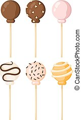 Set Lollipop sweet food vector illustration. Colorful ...