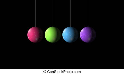 Set Looping realistic animation of the Christmas and New Year multicolored Balls and text 2020. Rotating decoration on white background. Merry Christmas and a Happy New Year! Animation with Alpha (transparent background) for easy use in your video.