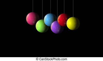 Set Looping realistic animation of the Christmas and New Year multicolored Balls with a golden snowflake. Rotating decoration on white background. Merry Christmas and a Happy New Year! Animation with Alpha (transparent background) for easy use in your video.