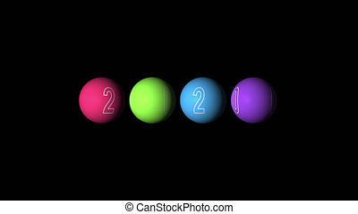 Set Looping realistic animation of the multicolored Balls and text 2020. Rotating decoration on white background. Animation with Alpha (transparent background) for easy use in your video.