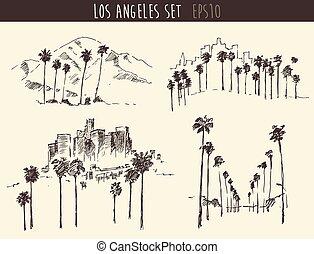 Set Los Angeles California Skyline Engraved Sketch - Los...