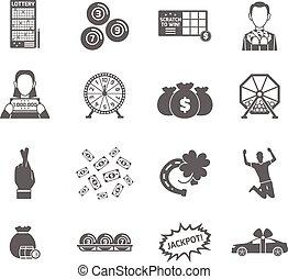 set, loterij, pictogram