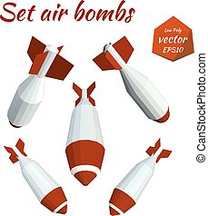Set low poly bombs. Vector