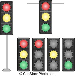 set, luci, isolato, fondo., traffico, bianco