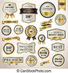 Set luxury labels and ribbons