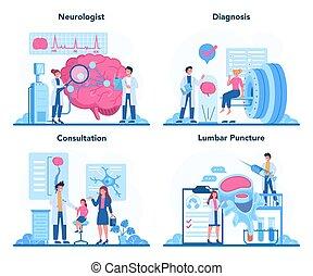 set., mänsklig, neurologen, läkare, undersöka, begrepp, idé, brain.