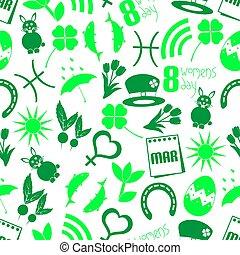 set, maart, iconen, eenvoudig, model, seamless, maand, thema, groene, eps10