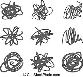 set, macchie, mano, vettore, disegno, disegnato, logotipo, penna, scarabocchio, elementi