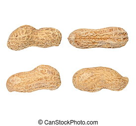 Set macro peanuts isolated on white