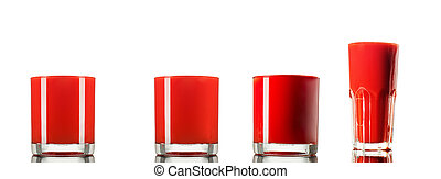 Set made of 4 Tomato juice in glass isolated on white background .