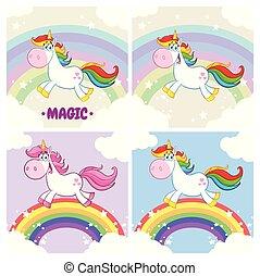 set, magia, carattere, collezione, unicorno, 2., cartone animato, mascotte