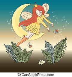 set, magia, illustrazione, luna, buono, vettore, notte, fata, cartone animato