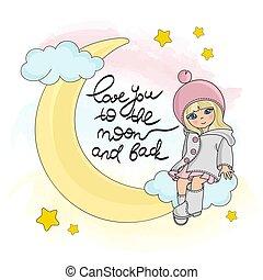 set, magia, illustrazione, luna, buono, vettore, ragazza notte, cartone animato