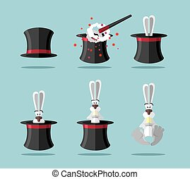 Set magician: wand, Topper and rabbit. Vector icon