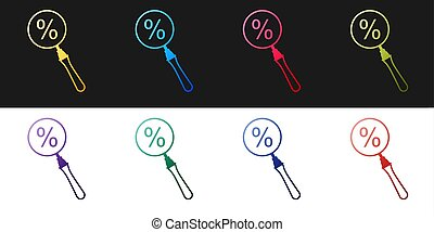 Set Magnifying glass with percent discount icon isolated on black and white background. Discount offers searching. Search for discount sale sign. Vector