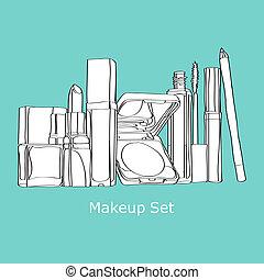 set., makeup, set, schoonheidsmiddelen
